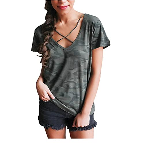 Mujeres blusa camiseta ropa, RETUROM Cool mujeres camuflaje V-cuello manga corta camiseta de manga c...