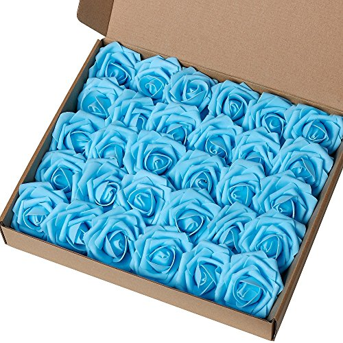 Marry Acting Artificial Flower Rose, 30pcs Real Touch Artificial Roses for DIY Bouquets Wedding Party Baby Shower Home Decor (Teal Blue)