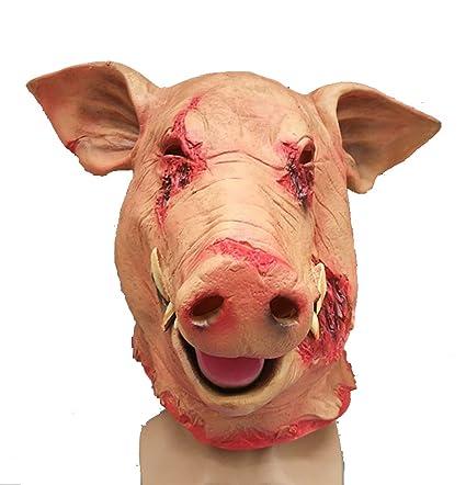 JINRU Cerdo Cabeza Halloween Horror Máscara Mascarada Animal Cosplay Fiesta Más Espeluznante Forma Realista Divertida Hecha