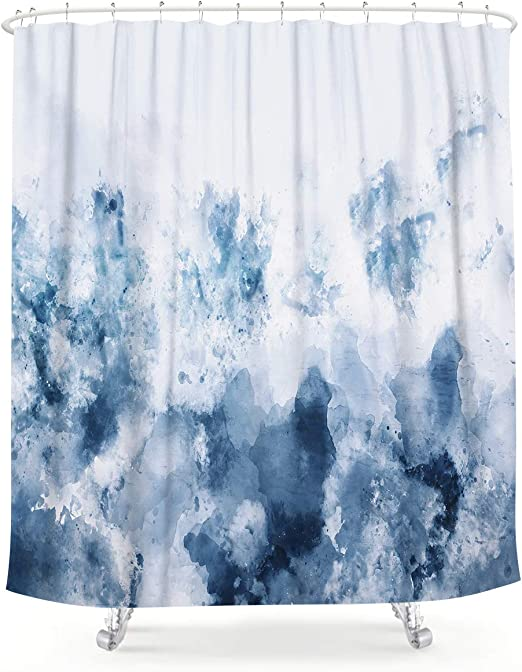 Abstract Marble Waterproof Fabric Shower Curtain Set Bathroom Accessory 12 Hooks
