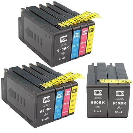 KATRIZ 10 piezas Reemplazo para HP 950XL 951XL Cartuchos de tinta compatibles para HP Officejet Pro 8600 8610 8620 8630 8640 8660 8615 8616 8625 8100 ...