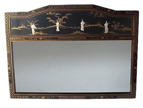 Mobili Cinesi Laccati Neri : Cinese orientale mobili specchio specchio grande madreperla laccato