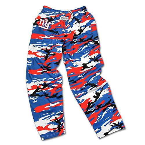 NFL New York Giants Men's Zubaz Camo Print Team Logo Casual Active Pants, XX-Large, Blue/Red/Black