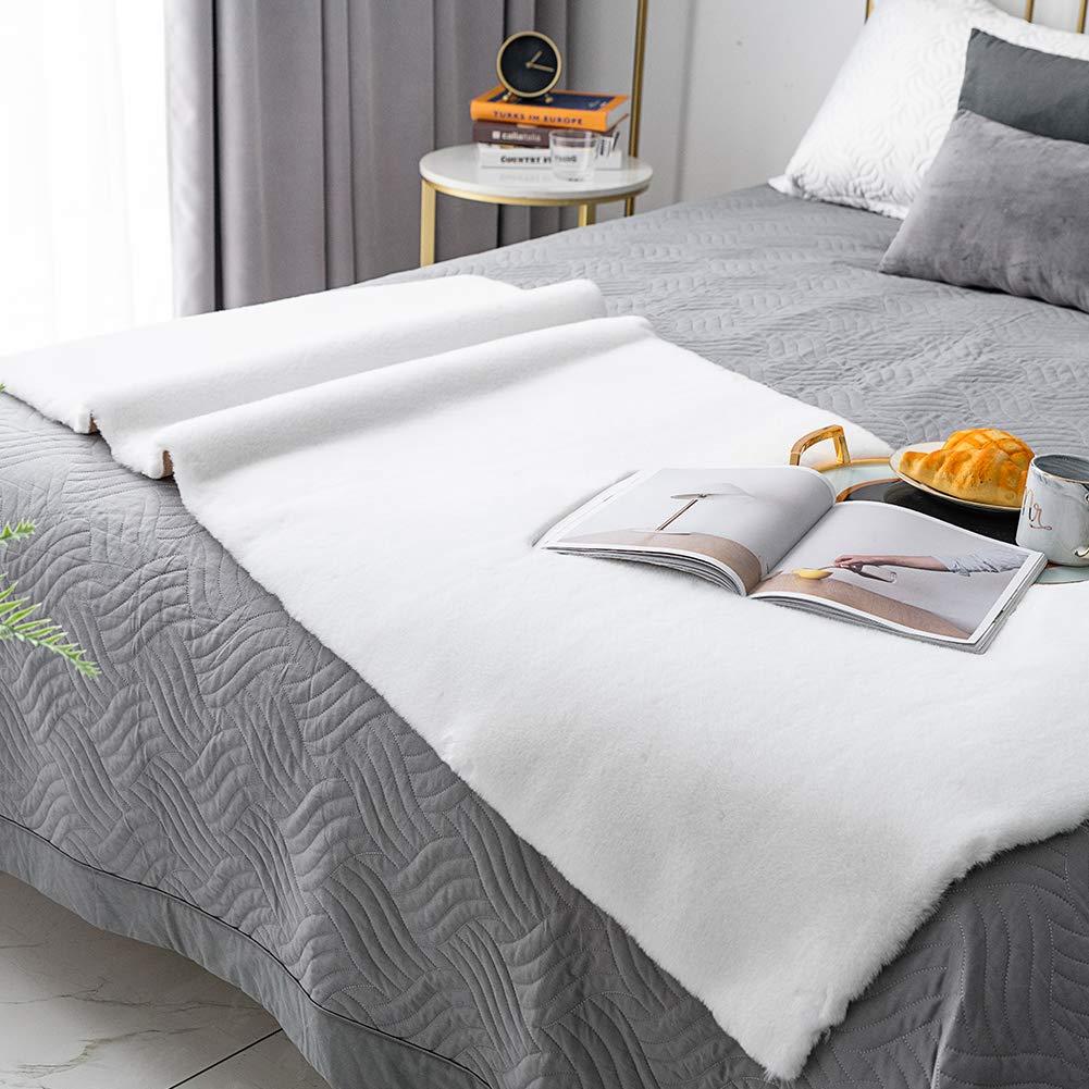 Z-white 3ft x 5ft Carvapet Shaggy Soft Faux Sheepskin Fur Area Rugs Floor Mat Luxury Beside Carpet for Bedroom Living Room, 6ft x 9ft,Black