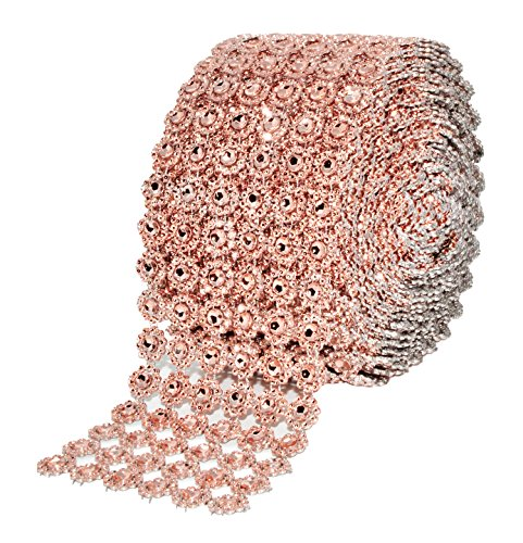 Mandala Crafts Faux Diamond Bling Wrap, Faux Rhinestone Crystal Mesh Ribbon Roll for Wedding, Party, Centerpiece, Cake, Vase Sparkling Decoration (Flower Pattern 4 Inches 10 Yards, Champagne)