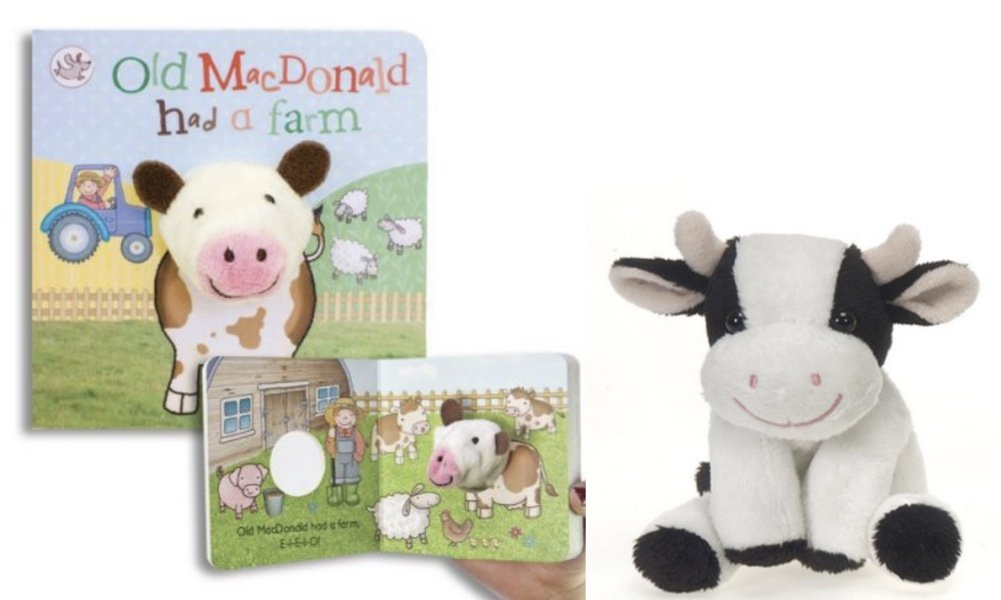 DG Shopping Spree Little Learners Finger Puppets Board Book - Old MacDonald with Plush Cow