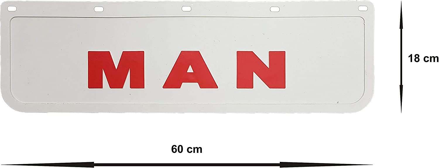 Heavy Duty Rubber Mudguards Mud Flaps White with Red Truck Lorry Trailer 60 x 18 cm 23.6 x 7.1 2 Pcs