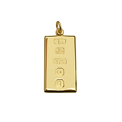 Solid 9ct Yellow Gold Small Ingot Pendant With Custom Hallmark 20mm x 10mm In Gift Box 0ETj2whT