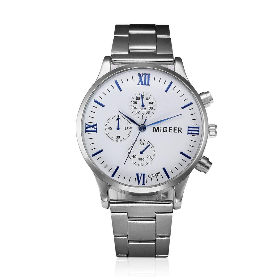 Amazon.com: Clearance!! Auwer Watch,Mens Watches,Mens Luxury Fashion Stainless Steel Chronograph Quartz Wrist Watch (H): Watches