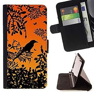 BullDog Case - FOR/Apple Iphone 5C / - / bird tree branch rainforest sunset sitting /- Monedero de cuero de la PU Llevar cubierta de la caja con el ID Credit Card Slots Flip funda de cuer