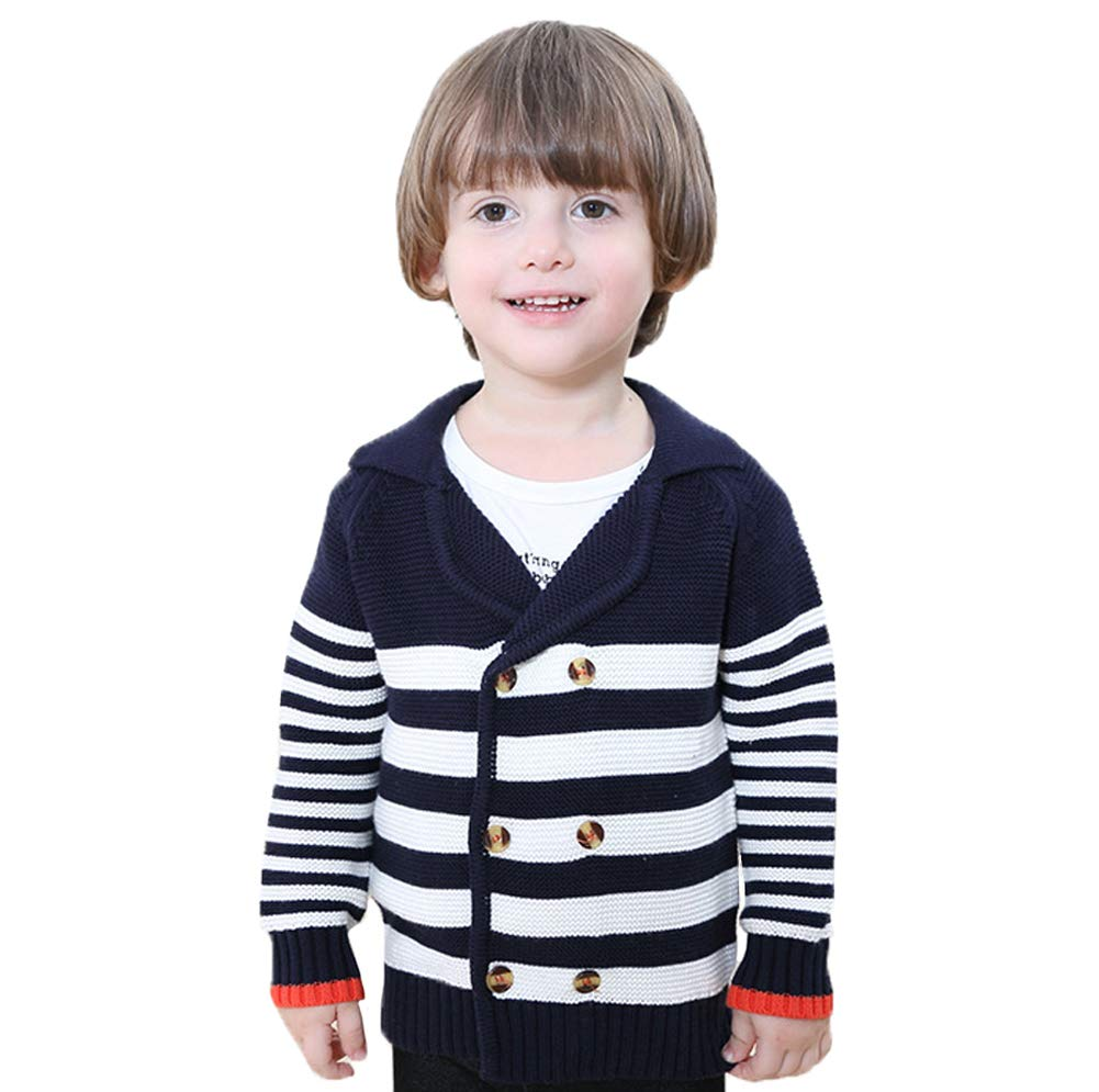 Little boys Knit Long Sleeve Button-down Knit Cardigan Sweaters Coat 2-3Years Gotend