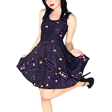 65971340ca TRENDY STYLISH Women Pacman Retro Gamer Girl Geek Friki Skater Dress at  Amazon Women s Clothing store