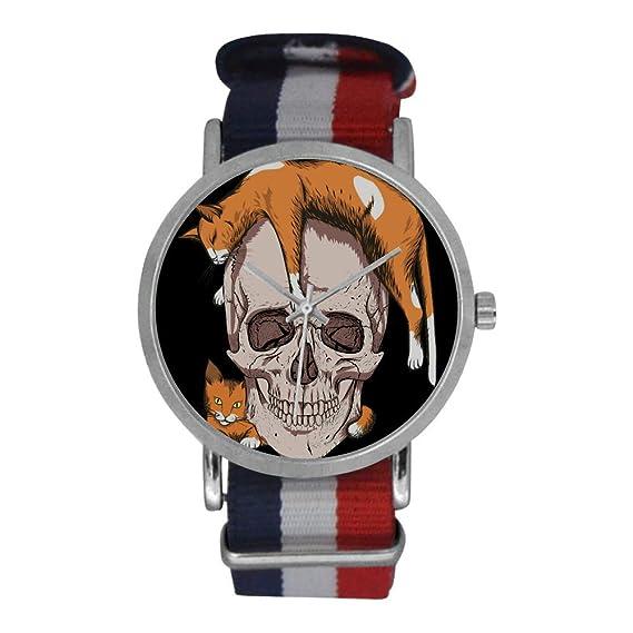 Cool Skeleton - Reloj de Pulsera analógico de Cuarzo para Hombre, de Acero Inoxidable, con Correa de Nailon a Rayas, Color Naranja: Amazon.es: Relojes