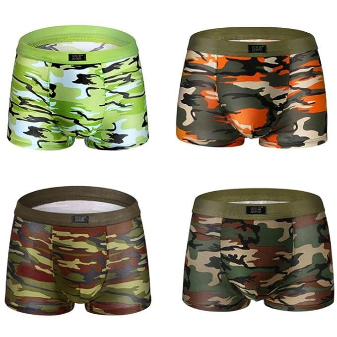 4 Piezas Camuflaje Impresión U bolsa Convexa Ropa Interior Hombre Modal Suave y Transpirable Juventud Calzoncillos