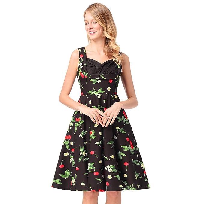 Nuevo estilo envuelto en el pecho Vintage sin mangas estampado floral vestido de mujer Slim cintura dobladillo grande del vestido esponjoso verano Sexy ...