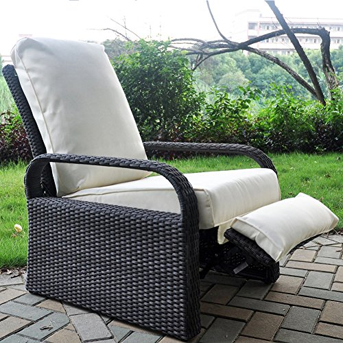 """Babylon Outdoor Recliner Wicker Patio Adjustable Recliner Chair with 5.11"""" Cushions and Ottoman,Rust-Resistant Aluminum Frame,All-Weather Resin Rattan, Grey&Beige"""