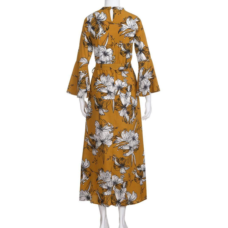Vestidos De Fiesta Mujer Largos para Noche, Moda Largo Mangas Floreada V-Cuello Diario Casual Cómodo Suelto Faldas: Amazon.es: Ropa y accesorios