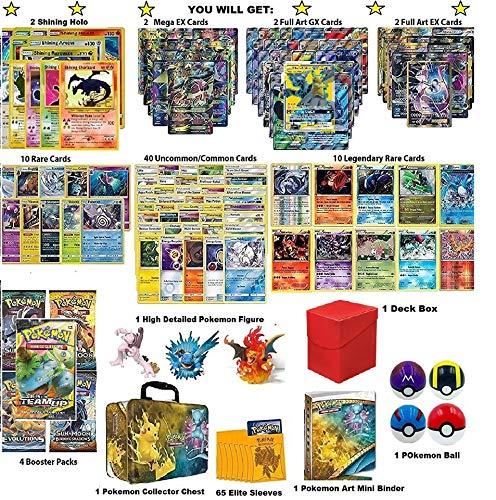 Pokemon Cards Ultimate Premium Collection - 2 Shining Holo, 2 MEGAs, 2 Full Art GXs, 2 Full Art EXs, 10 Legendary Rares, 10 Rares, 4 Boosters, 1 Mini Album, Elite Sleeves, 1 Deck Box, 1 Figure, 1 Ball by BCG Distribution (Image #1)