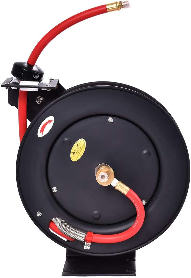 prettyshop4246 300 PSI Auto Rewind Retractable Air Hose Reel Compressor This Air Hose Reel Provides Ultimate Convenience for Storing Working Patio Lawn Outdoor Power Replacement Part Accessories