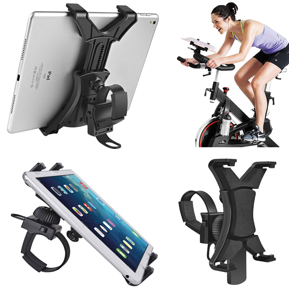 Tablet Holder for Spinning Bike,Universal iPad Mount for Indoor Gym Equipment Treadmill Exercise Bike,Adjustable 360° Swivel Bracket Stand for 7-12'' Tablets and iPads