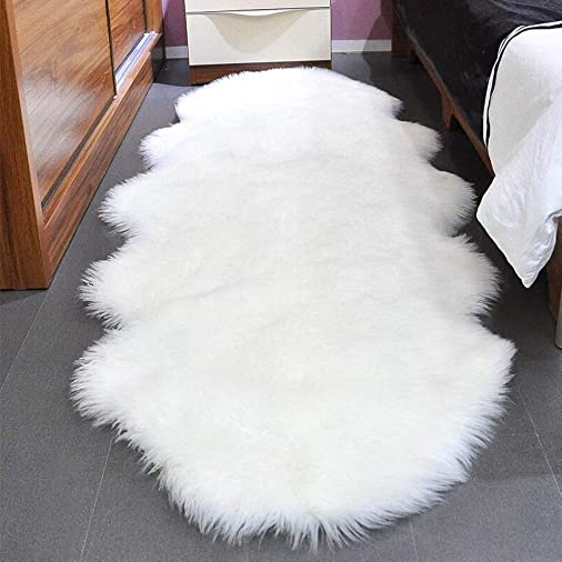 Faux Fur Sheepskin Rug 2.6ft x 6ft Faux Fleece Fluffy Area Rugs Carpet for Living Room Bedroom Sofa 2.6ft x 6ft, White
