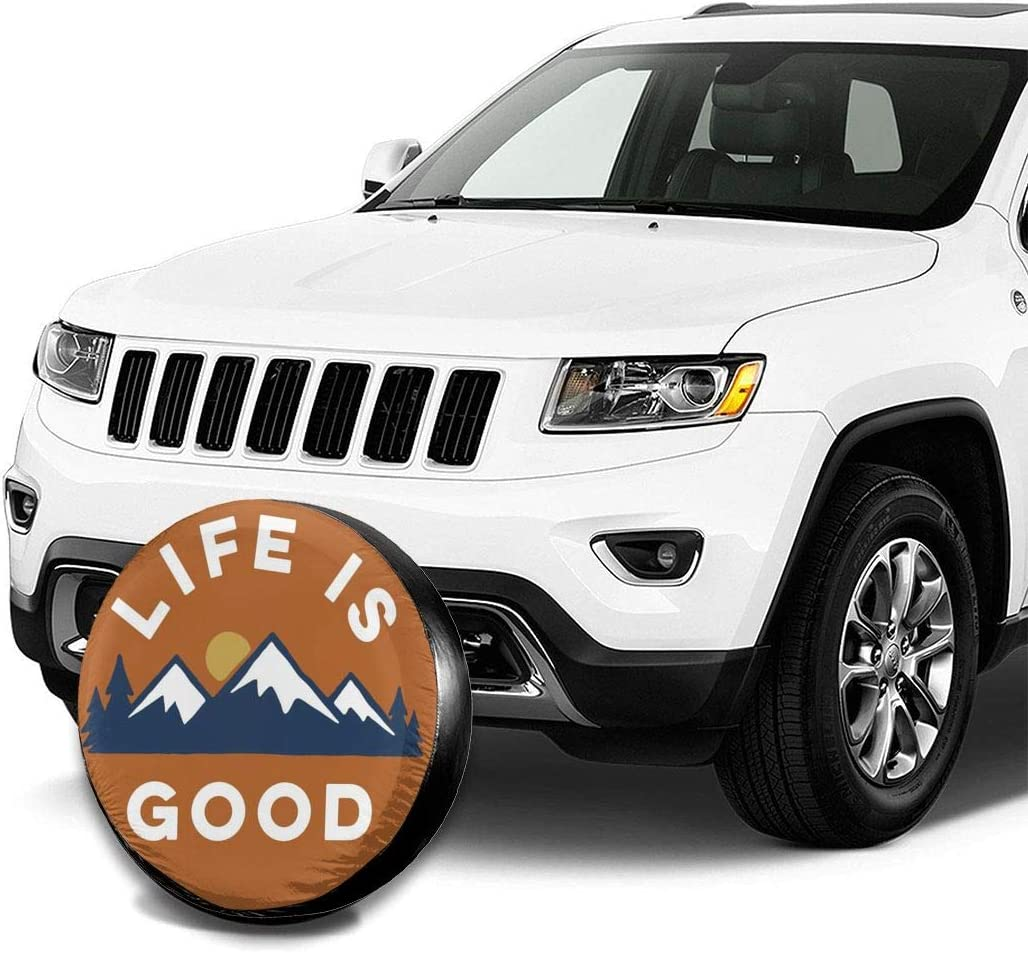 Spare Tire Covers Life is Good Wheel Covers Rv Tire Covers Sun-Proof Weather-Proof for Jeep Trailer RV SUV Truck Camper Travel Trailer Accessories 14 15 16 17 Inch