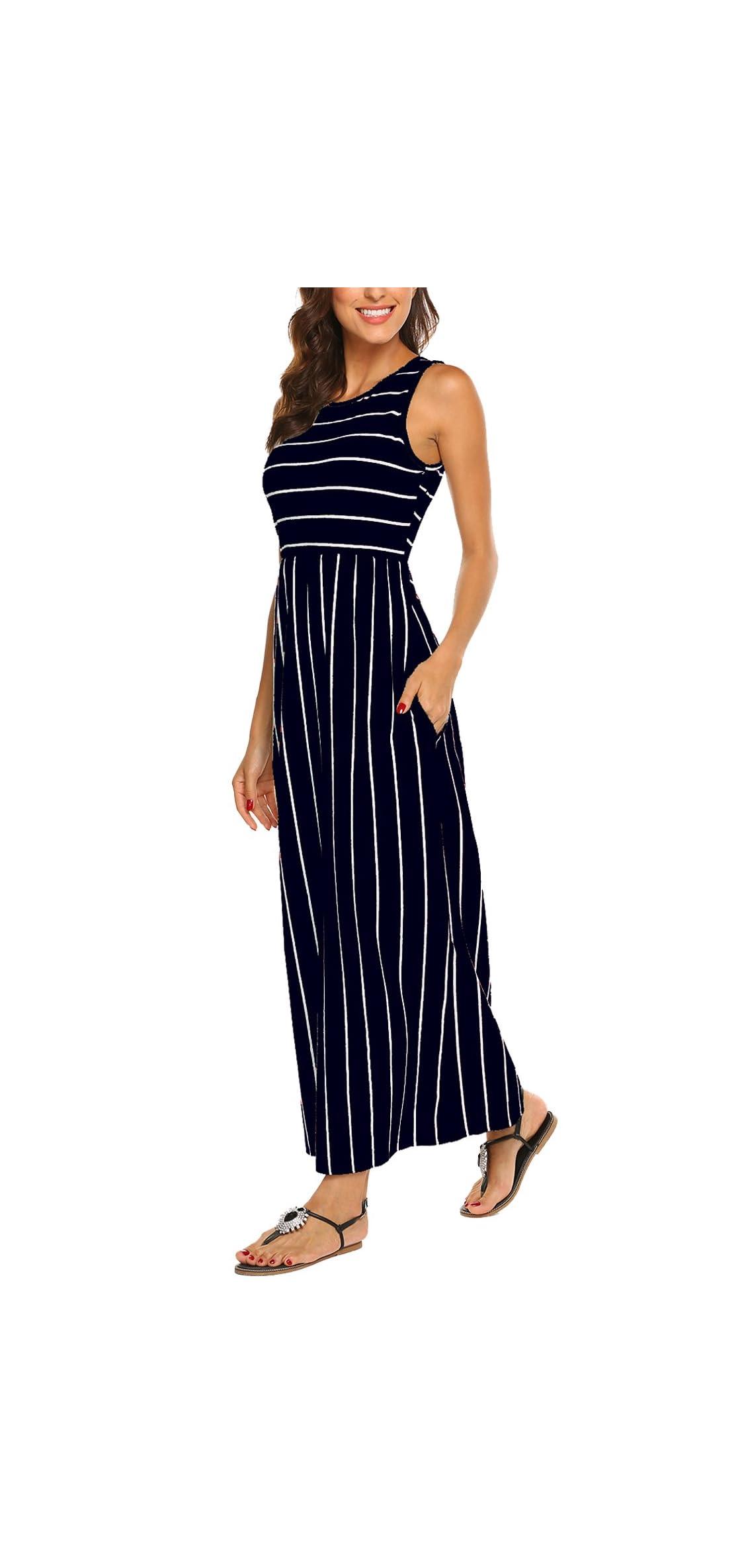 Women's Summer Sleeveless Striped Flowy Casual Long Maxi