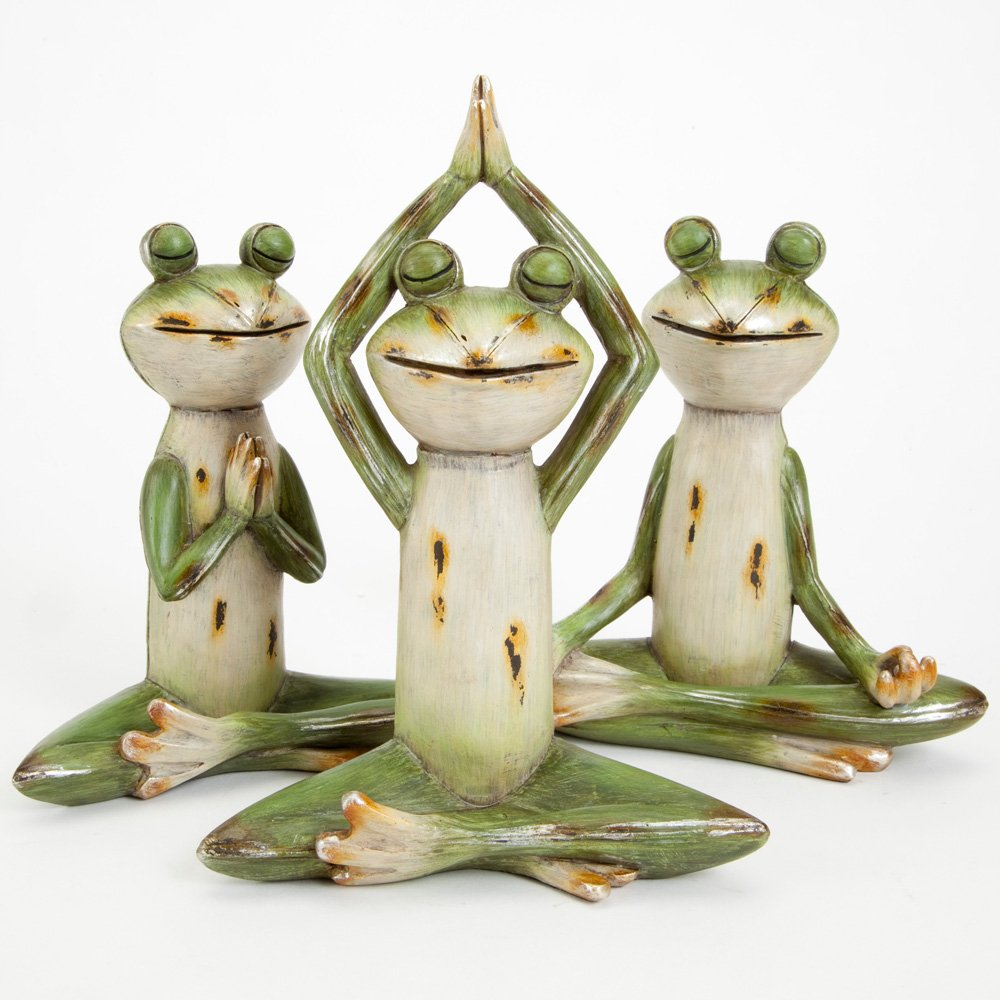 Bits and Pieces - Set of Three (3) Delightful Frog Statues - Durable Hand Painted Poly Resin Outdoor Sculptures - Each Frog Positioned in a Classic Yoga Pose - Home and Garden Décor