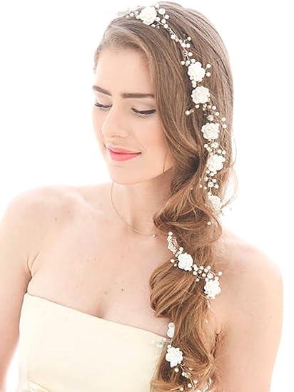 handcess boda diadema flor largo pelo de novia de plata brillantes para novias y damas de