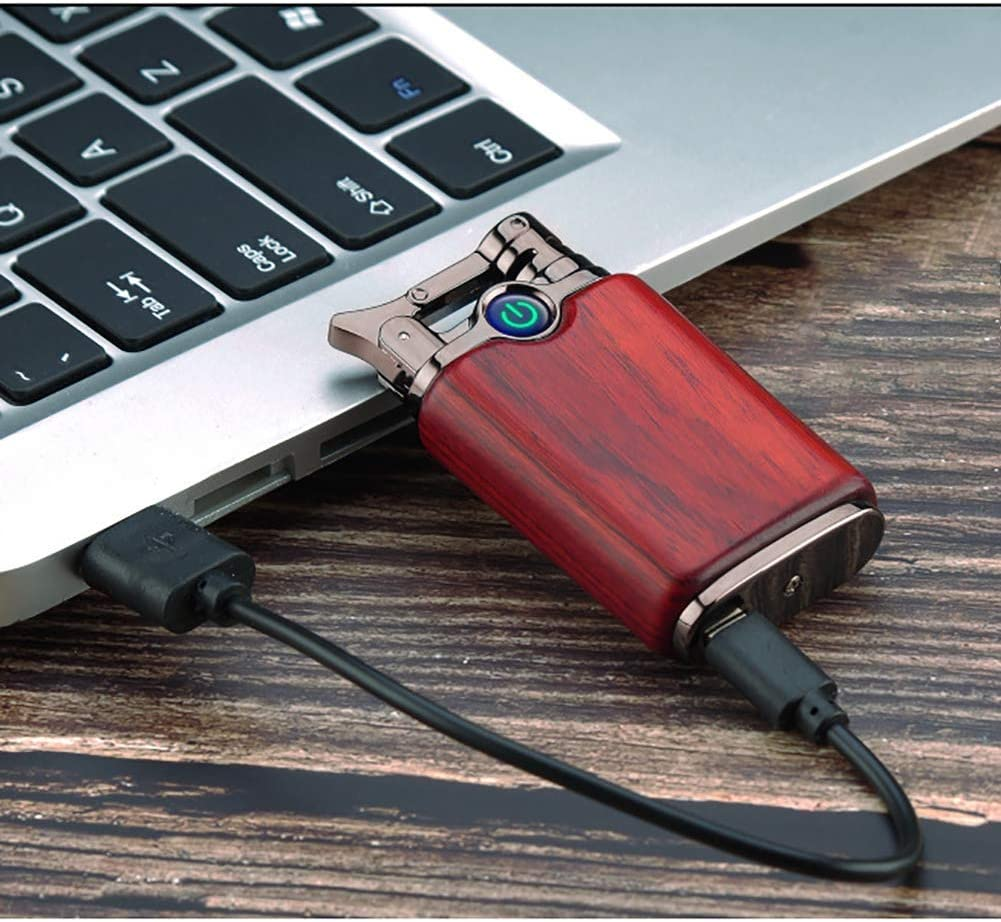 USB Electronic Lighter Sandalwood Arc Lighter Rechargeable Windproof Lighter Candle Induction Battery Display Camping Barbecue(hot air blower) A