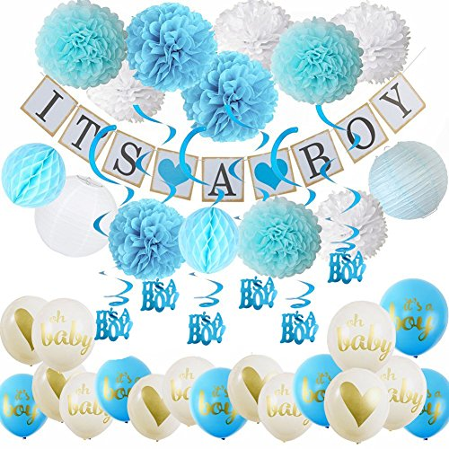 38ps Baby Shower Decorations for Boy It's a Boy Bunting Banner,Oh Baby Ballons,It's A Boy Ballons with Tissue Paper Pom Poms and Paper Lanterns Honeycom Balls for Boy Baby Shower (Blue Safari Baby Shower Ideas)