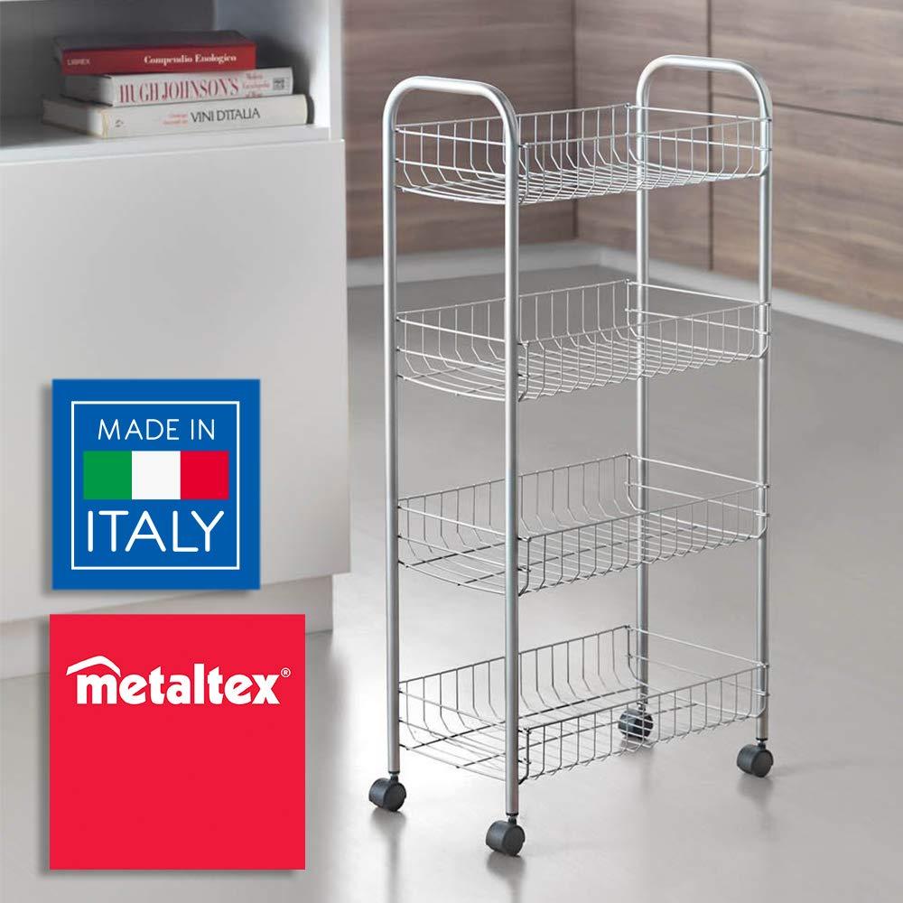 Metaltex Ascona- Carro multiuso con ruedas, Gris, 4 Cestos, 41 x 23 x 84 cm