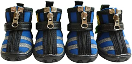 Small Pet Dog Anti-Slip Breathable Mesh Shoes Zipper Boots Soft Paws Protector