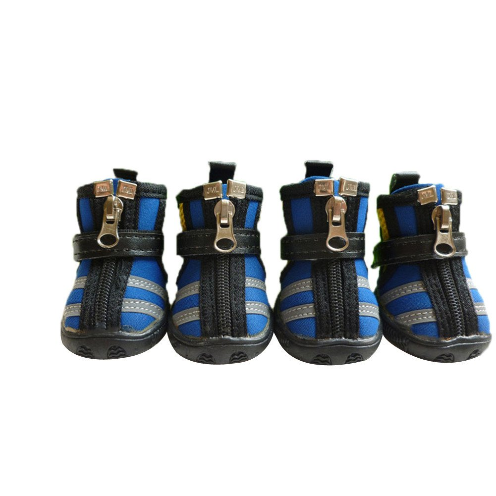 Moolecole Breathable Mesh Pet Shoes Anti-Skid Sole Zipper Paw Protector with Velcro for Small to Medium Dogs 4-Pack Blue XS