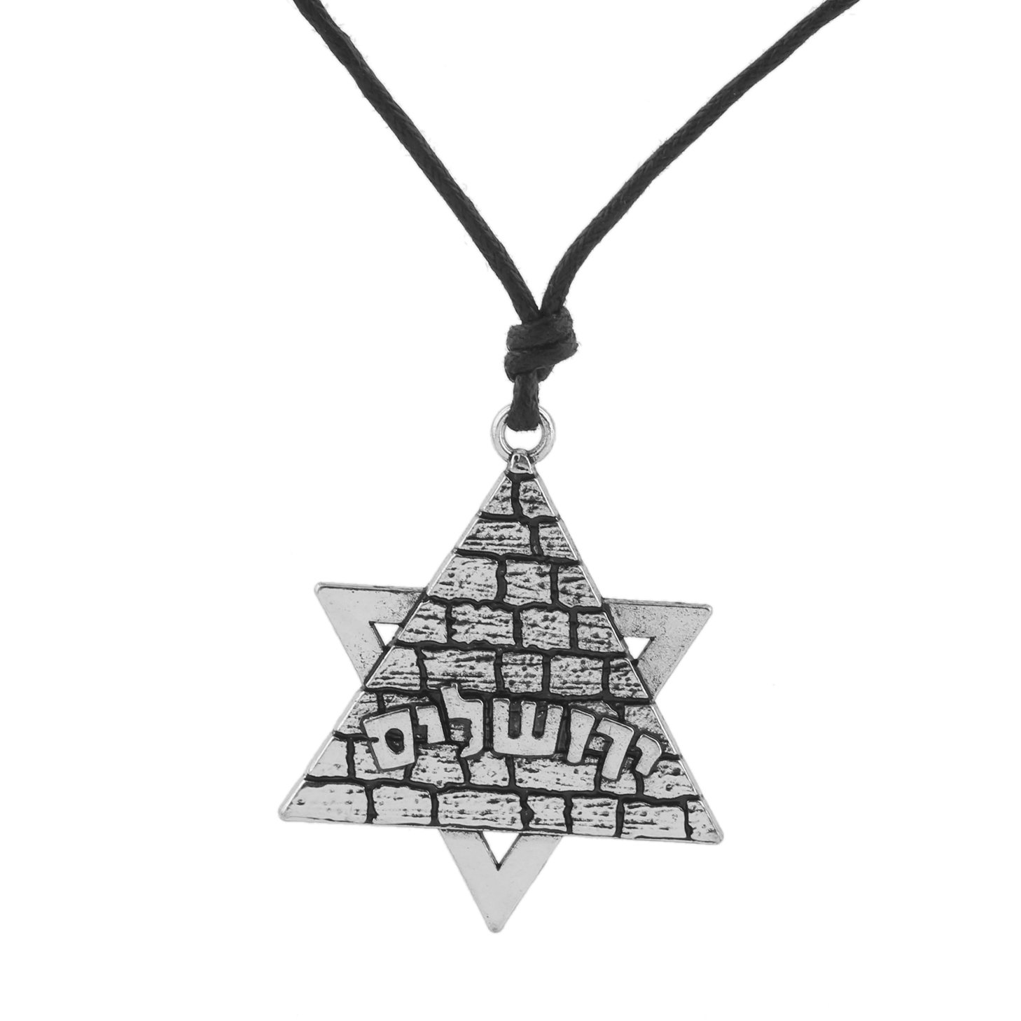 Jewish Star of David Hebrew Simple Word Talisman for Life Typographic Necklace