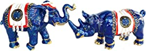 Feng Shui Blue Elephant & Rhino with Talisman Feathers and Anti-Robbery