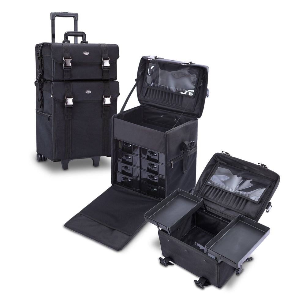 MUA LIMITED 2 in 1 Pro Makeup Artist Case on Wheels, Multifunction Cosmetic Organizer with Removable Drawers, Beauty Trolley, Soft Case with PREMIUM Buckles, ULTIMATE Series - Black