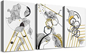 modern Abstract painting Canvas Wall Art for Living Room Wall Artworks Bedroom Decoration, 3 piece Framed office kitchen bathroom Wall decor inspirational Black and white abstract posters Home Decor