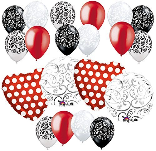 20 pc Red Polka Dot Hearts & Swirls Balloon Bouquet Wedding Baby Shower Bridal -