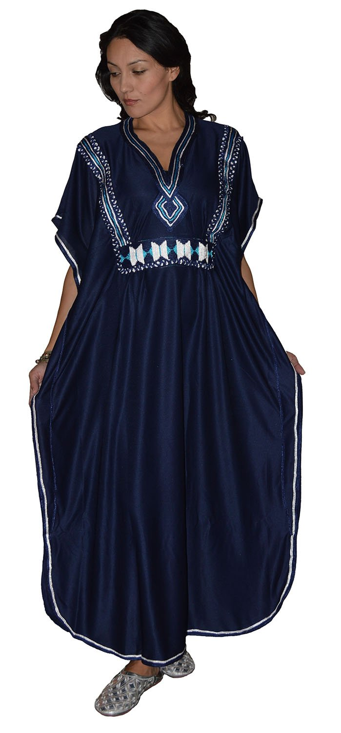 Moroccan Caftans Women Hand Made And Embroidered Caftan One Size Navy Blue