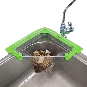 Triangle Tri-Holder Filter, Sink Strainer Bag sink net,Triangular Mesh Hanging Net Bag For Sink, Kitchen Leftovers Filter Basket Fine Mesh Bag, Kitchen Corner Sink Garbage Storage Rack Holder