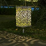 Solar Lantern Hanging Garden Outdoor Lights Metal Waterproof LED Table Lamp Decorative (White)