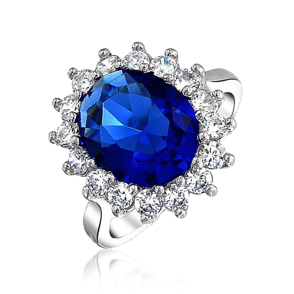 Simulated Sapphire CZ Engagement Promise Ring Oval CZ Halo Floral Royal Vintage Style 925 Silver