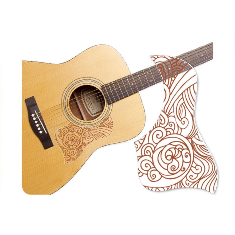 Healingshield Premium Acoustic Guitar Pickguard Style Type Wave-Brown