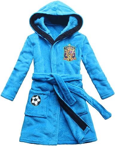 FEETOO] Equipo de fútbol de España Bata de niño Bordado Toga de Dormir para niños (6, Blue): Amazon.es: Ropa y accesorios