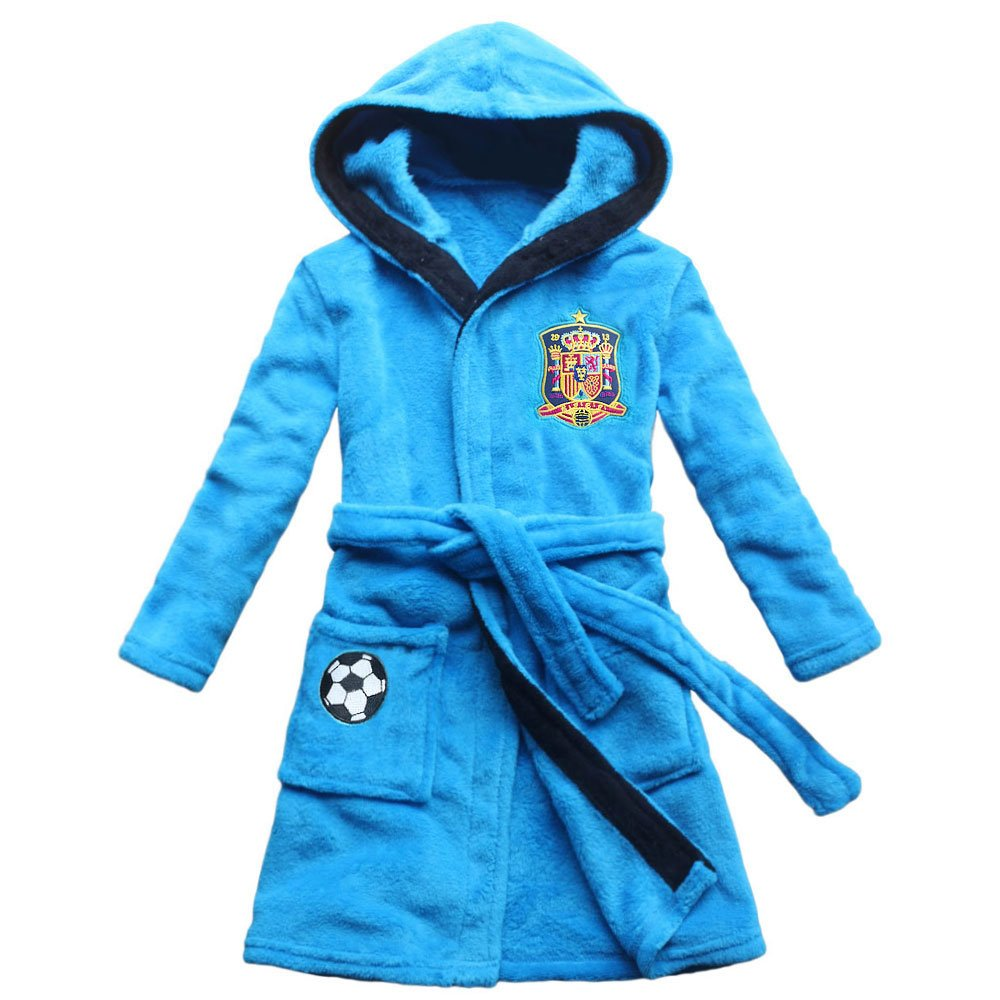 Amazon.com: FEETOO Embroidered Name Soccer Team Embroidered Boy Bathrobe Coral Velvet Home Robe Childrens Nightgown: Clothing