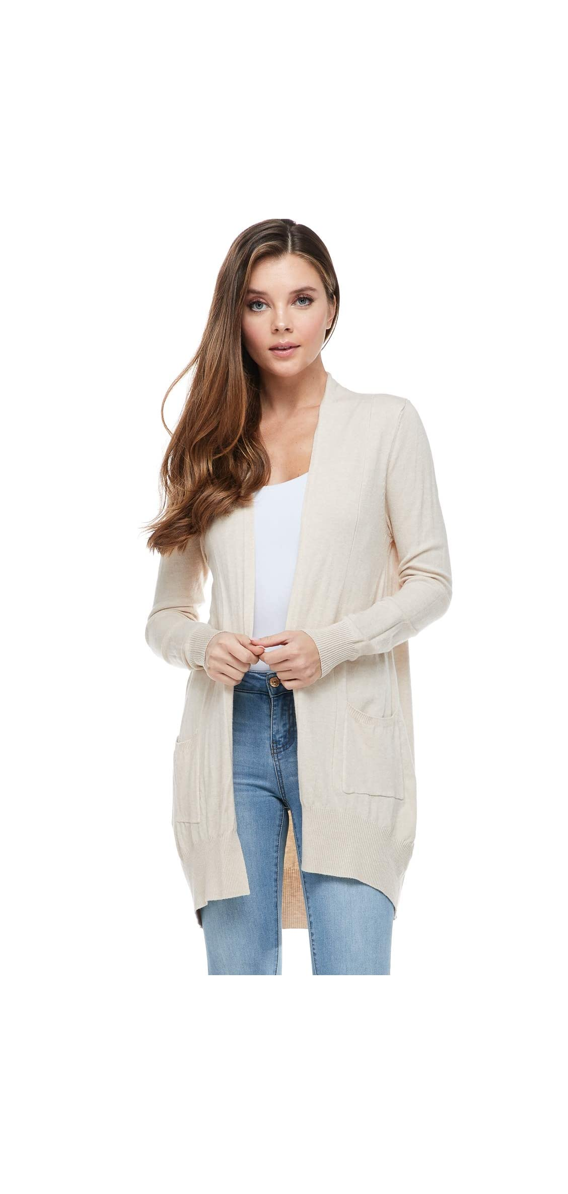 Women's Basic Open Front Long Sleeved Soft