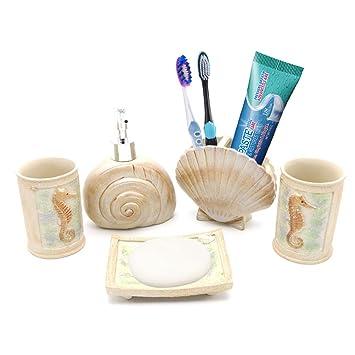 Beach Seashells Bathroom Accessories, Ivory Ocean Starfish Bathroom  Accessory Set For Bathroom, Powder Room