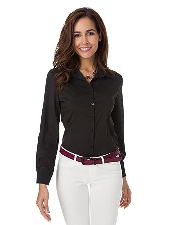8feb9f1e6cc9 Womens Basic Long Sleeve Button Down Shirts Cotton Simple Pullover Stretch  Formal Casual Shirt