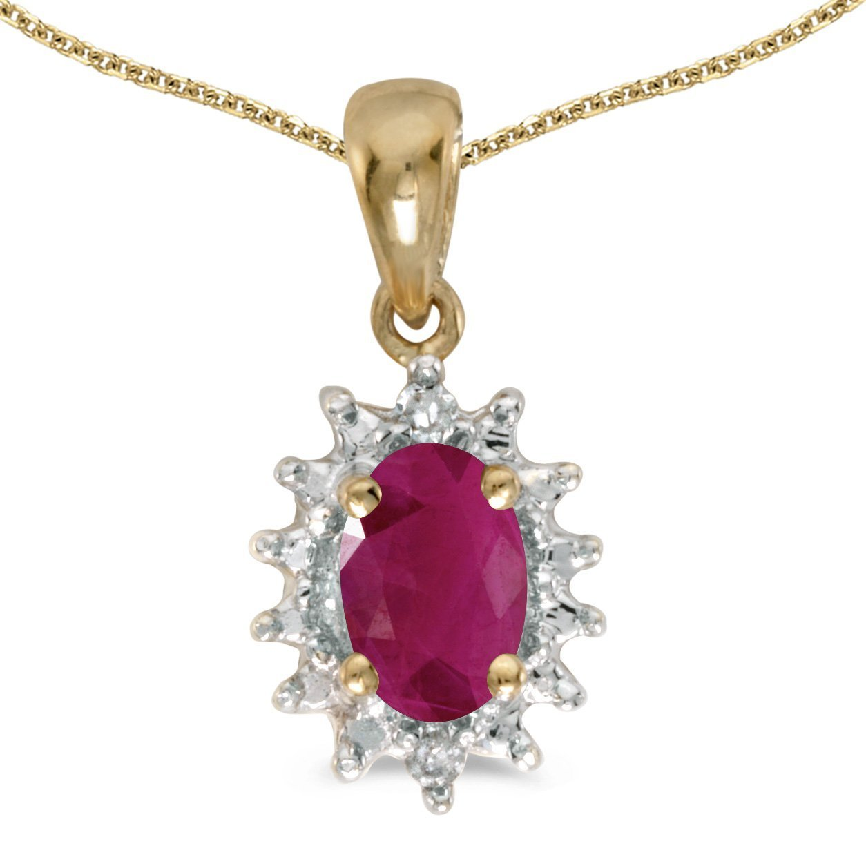 FB Jewels Solid 10k Yellow Gold Genuine Birthstone Oval Gemstone And Diamond Pendant 0.47 Cttw.